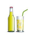 bottle of lemonade and a drink in a glass with ice vector image