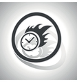 Burning clock sign sticker curved vector image vector image