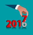 business hand holding 2017 vector image