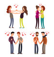 cartoon character lgbt couple in love vector image vector image