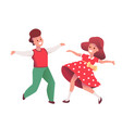 cartoon kids dancing at christmas party vector image vector image