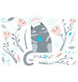 cat and flowers decorative elements vector image vector image
