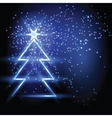 Christmas fir tree on blue background vector image