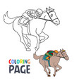 coloring page with people ridding horse cartoon vector image vector image