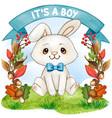 cute watercolorsitting bunny on an autumn vector image