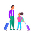 father and daughter tourists carrying suitcases vector image