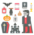 Flat design vampire item set vector image