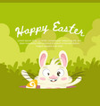 green background for easter with a funny rabbit vector image vector image