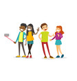 group of multiethnic friends taking a selfie photo vector image vector image