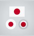 japanese trio flags vector image vector image