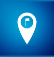 map pointer with golf flag icon on blue background vector image