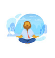 office worker with lion head meditating clipart vector image