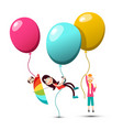 people flying on colorful balloons vector image