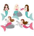 set beautiful mermaids vector image