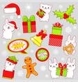 set of cute christmas party icons in kawaii style vector image vector image