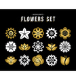 Set of gold color flower icons in flat style vector image