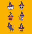 set of halloween cartoons vector image vector image