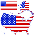 Silhouette map and flag of the USA vector image