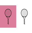 silhouette tennis racket icon on pastel pink vector image vector image