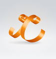 Silk ribbon letter abc vector image