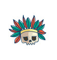 skull with indian war bonnet vector image