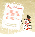 Snowman with white banner vector image vector image