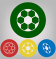 soccer ball sign 4 white styles of icon vector image vector image