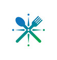 spoon frok restaurant logo vector image vector image