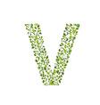 Spring green leaves eco letter V vector image vector image