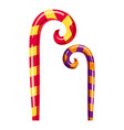 striped candy canes icon cartoon style vector image vector image