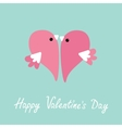 Two flying pink birds in shape of half heart Cute vector image vector image