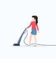 woman using vacuum cleaner housewife cleaning vector image