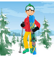 young happy skier with ski poles poses vector image