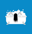 zombie girl in bath isolated dead woman washes vector image vector image