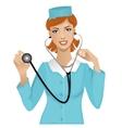 Nurse with stethoscope eps10 vector image