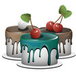 a set of three cupcakes each cupcake is a separate vector image vector image