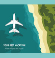 airplane flies over a sea view from above vector image
