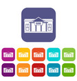 bank building icons set vector image vector image