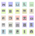 black buildings set black icon on color vector image vector image
