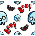 boo and skull halloween seamless pattern vector image