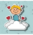 boy cloud heart love vector image vector image