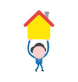businessman character walking and holding up house vector image vector image