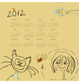 calendar for 2012 with girl and cat vector image