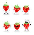 cartoon set strawberry vector image vector image