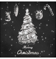 Christmas and New year chalk hand drawn vector image vector image