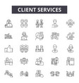 client services line icons signs set vector image vector image