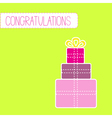 congratulations card with gift boxes green vector image