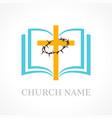 cross bible church logo vector image vector image