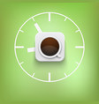 cup of coffee and time background vector image vector image