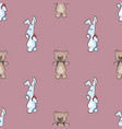cute cartoon bunny and bear animal seamless vector image vector image